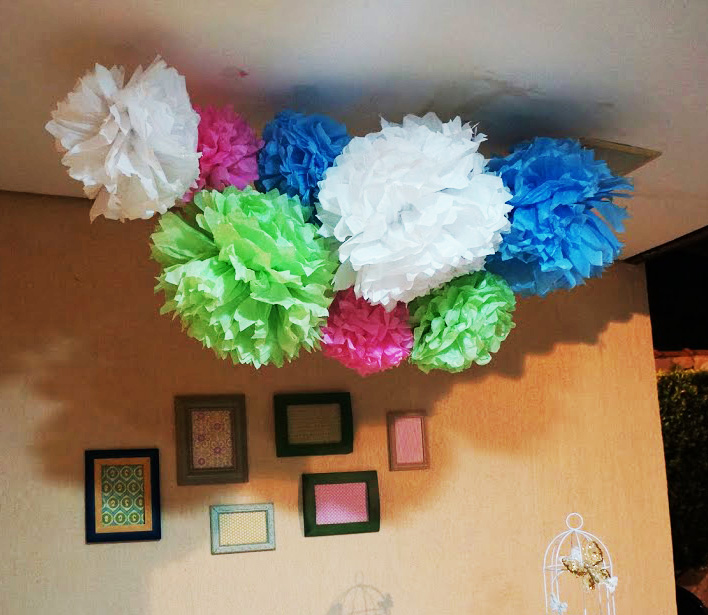 decoracao pom pom de papel